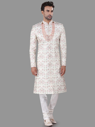 Classy off white silk indo western