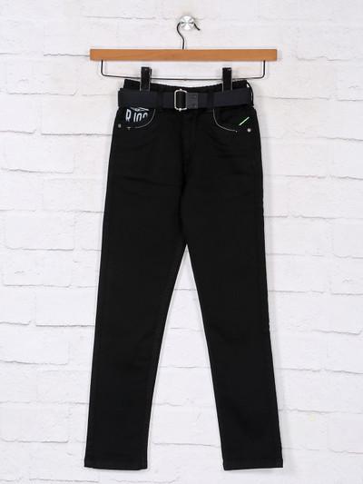 Classy solid black denim boys jeans