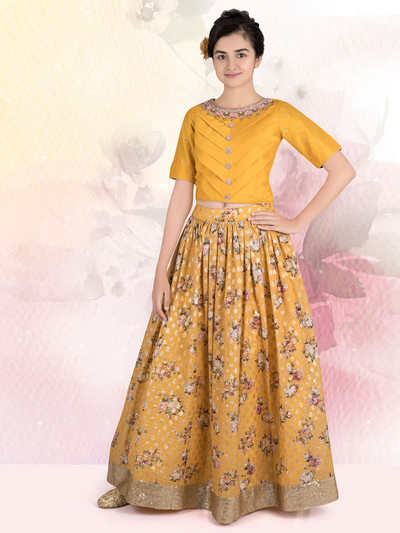 Classy yellow silk wedding wear lehenga choli for girls