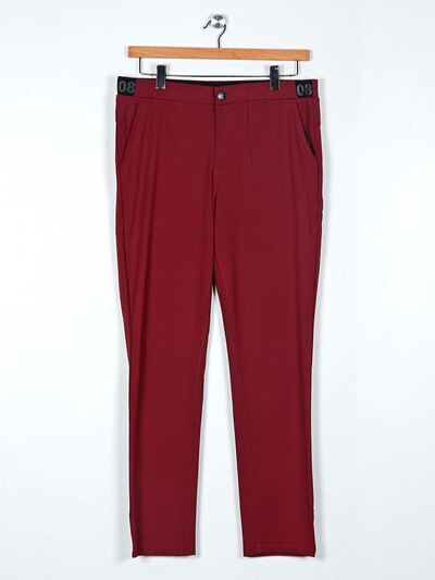 Cookyss maroon slim fit cotton payjama