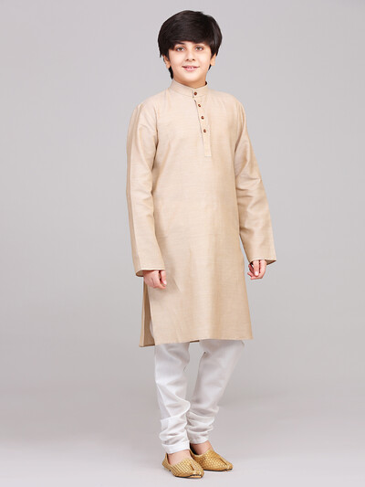 Cotton beige full sleeve kurta suit for boys