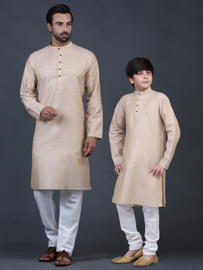 Cotton beige full sleeve kurta suit for father and son