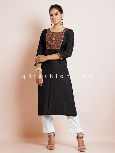 Cotton black causal wear women kurti