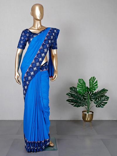 Cotton blue festive saree for women