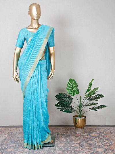 Cotton blue pretty festive wear saree