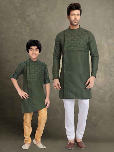 Cotton festive wear olive quilting father son kurta suit