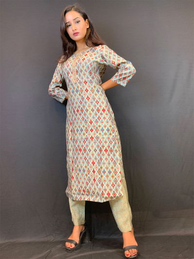 Cotton green causal wear printed pant suit