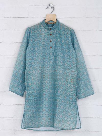 Cotton green festive wear kurta suit