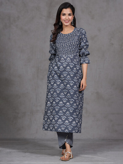 Cotton grey printed causal wear pant suit