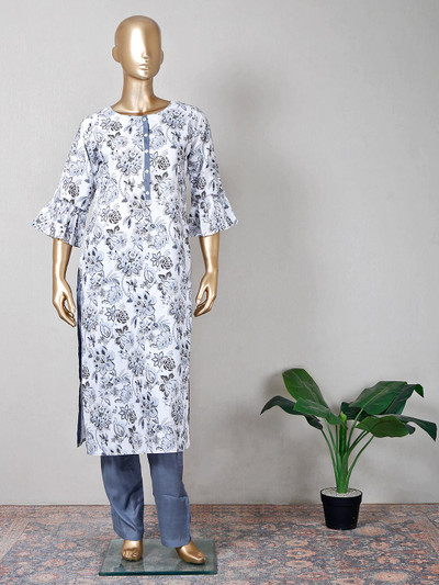 Cotton grey printed pant suit for festive