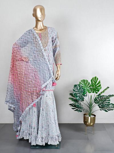 Cotton grey wedding wear sharara suit
