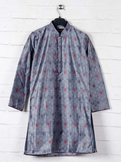 Cotton kurta suit in  grey for boys