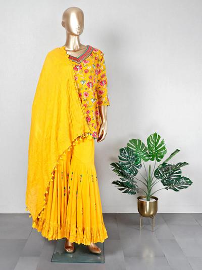 Cotton mustard yellow festive wear sharara suit