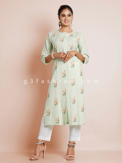 Cotton pista green solid kurti for causal look