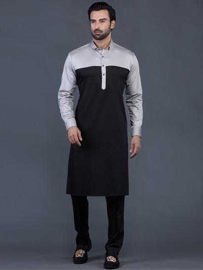 cotton plain grey pathani suit