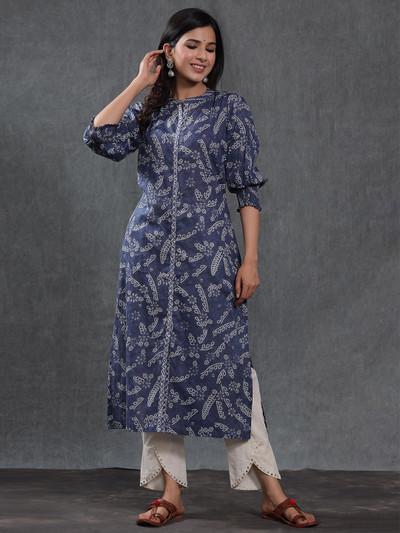Cotton printed blue causal wear women pant suit