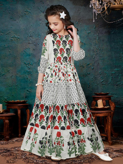 Cotton printed gown for girls