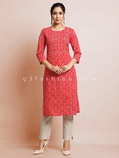 Cotton red festive wear kurti