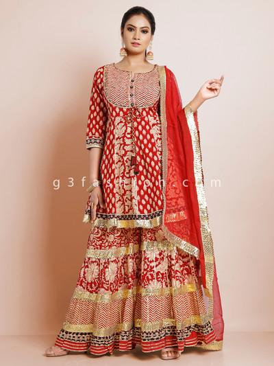 Cotton red festive wear punjabi style sharara suit
