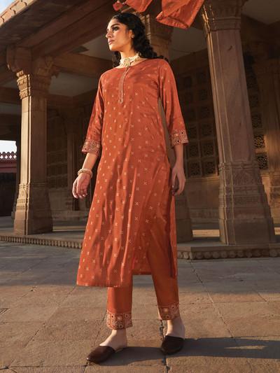 Cotton rust orange punjabi pant suit for festive