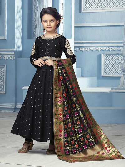 Cotton silk fabric black festive wear anarkali suit