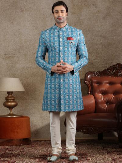Cotton silk indo western in blue