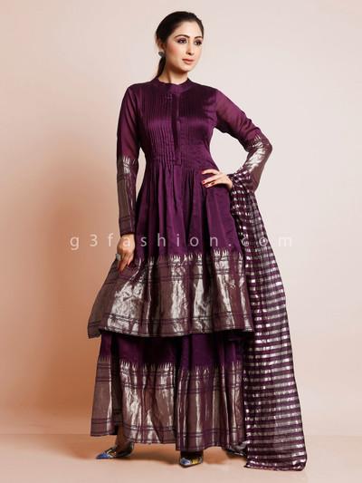 Cotton silk palazzo suit in purple