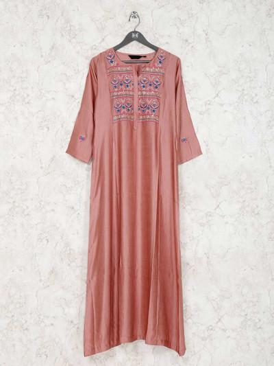 Cotton silk peach quarter sleeves kurti