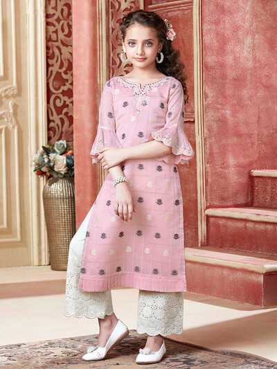 Cotton silk pink festive wear palazzo suit
