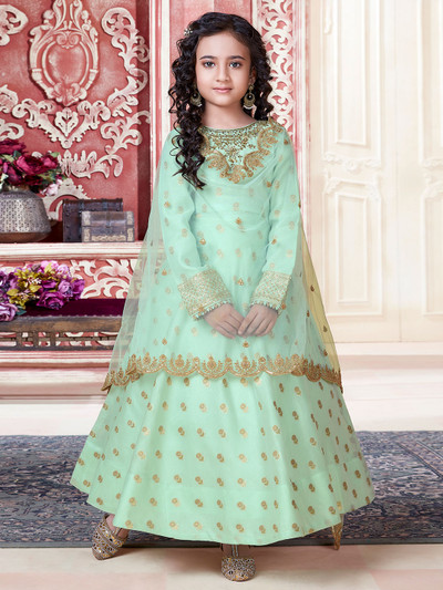 Cotton silk pista green party palazzo suit