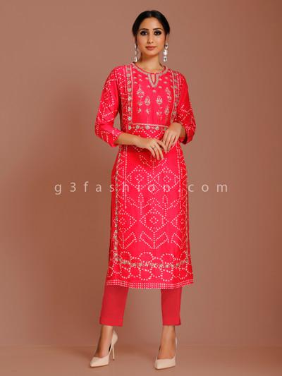 Cotton silk magenta printed punjabi kurti for festive