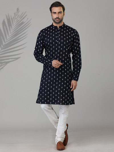 Cotton silk thread woven navy kurta suit