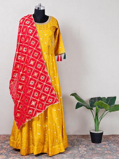Cotton silk yellow anrakali suit for wedding