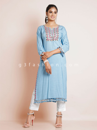 Cotton solid blue kurti for causal wear