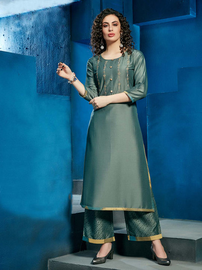 Cotton solid teal green palazzo suitm for casual