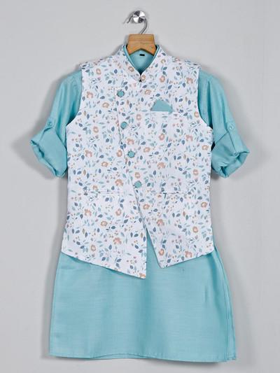Cotton white and sea green printed waistcoat set