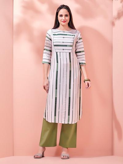 Cotton white stripe kurti for womens