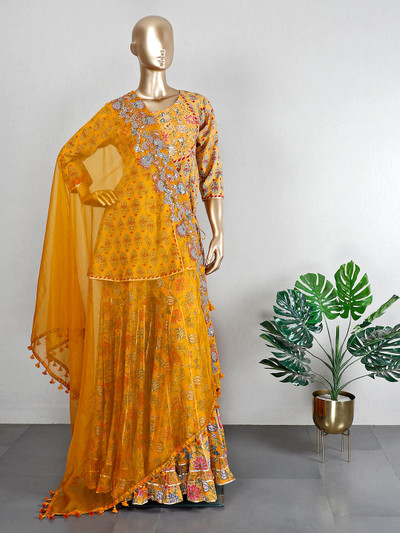 Cotton yellow sharara suit for wedding