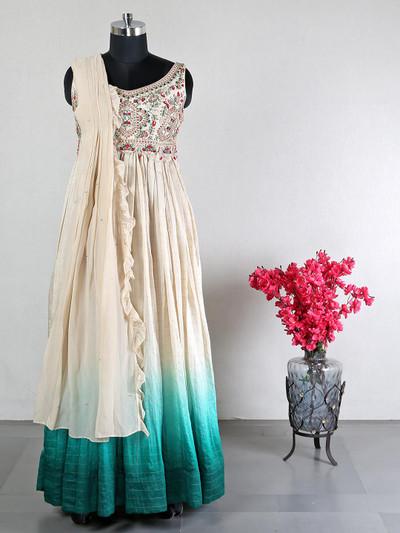 Cream anarkali suit for wedding session