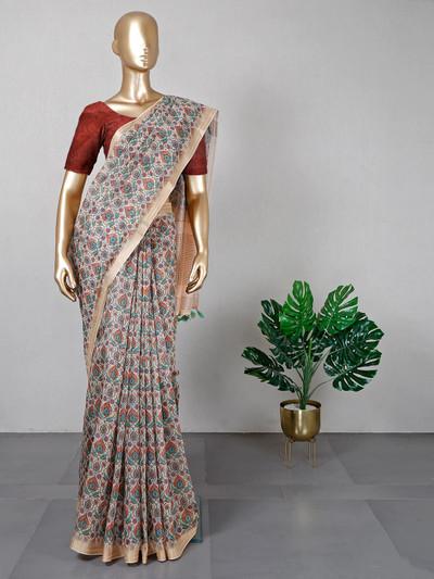 Cream printed cotton festival wear saree