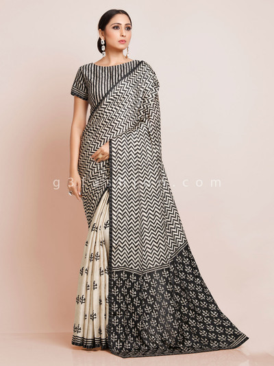 Cream and black zigzag patern saree with readymade blouse