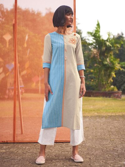 Cream and blue half and half cotton kurti