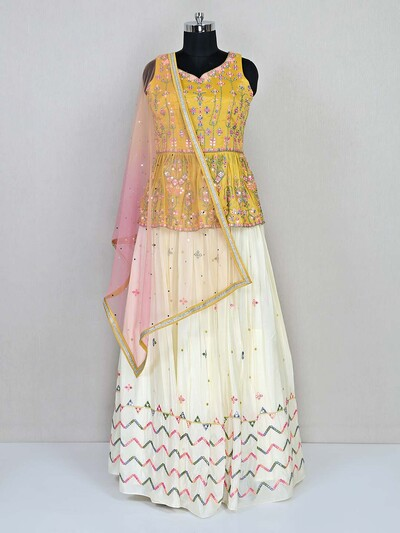 Cream and mustard lehenga style salwar suit