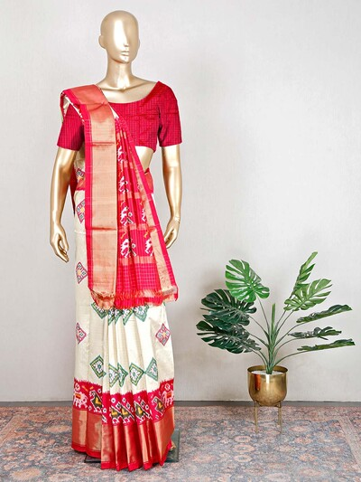 Cream and red patola silk wedding saree