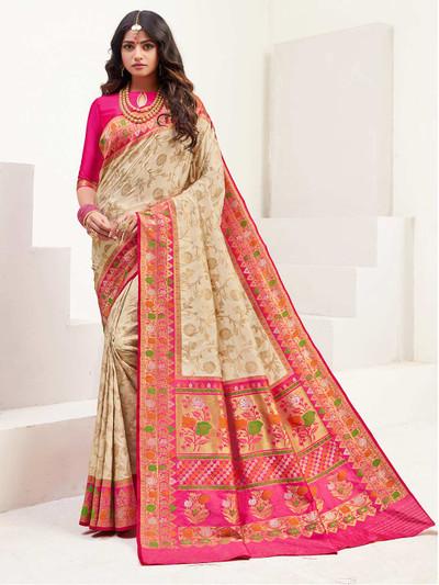 Cream banarasi silk wedding zari weaved saree