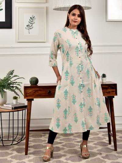 Cream casual printed look kurti in cotton