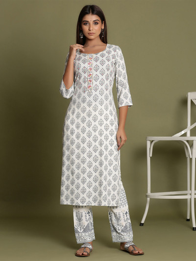Cream cotton causal wear printed pant suit for women