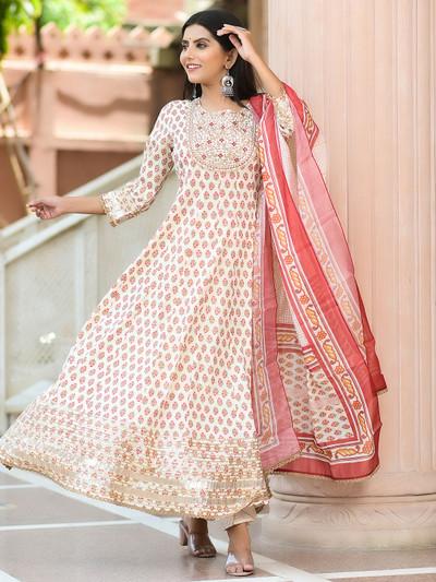 Cream cotton printed festive wear punjabi style pant suit