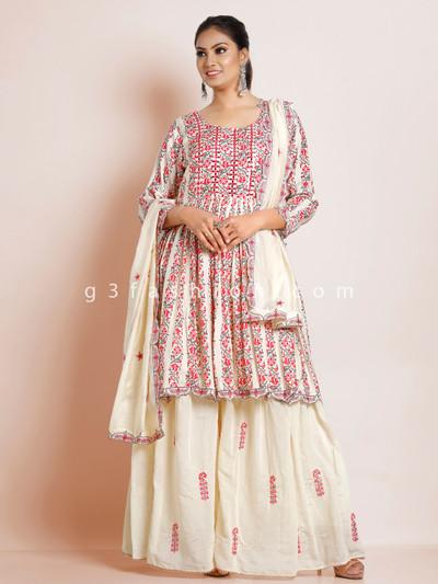 Cream cotton sharara salwar suit for festive