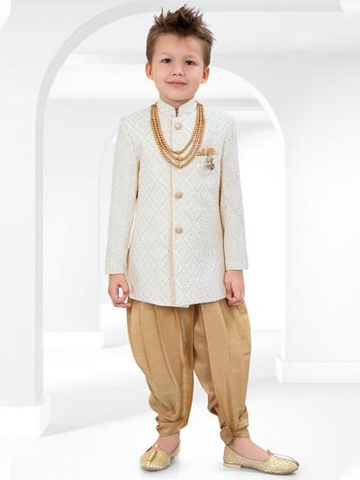 Cream cotton silk indo western for boys